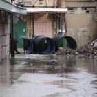 الامطار تغرق البلدة القديمة في الخليل