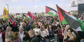 الآلاف يحتشدون في رام الله اسنادا للاسرى المضربين