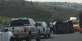 9 إصابات إحداها خطيرة في حادث سير على طريق رام الله_ نابلس