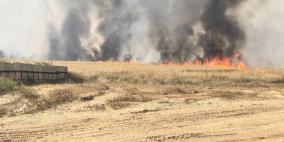 حريق جديد في حقول الاحتلال بفعل طائرة ورقية