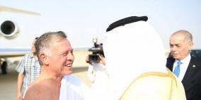 بلباس الاحرام- الملك عبد الله يصل السعودية