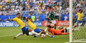 البرازيل  تتأهل الى الدور ربع النهائي بعد فوزها على المكسيك