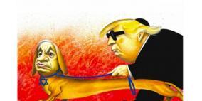 نيويورك تايمز تنشر كاريكاتير أظهر نتنياهو ككلب يقود ترامب