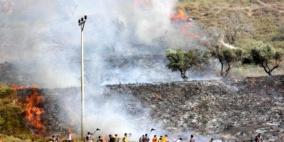مستوطنون يضرمون النار بحقول زراعية في  جالود