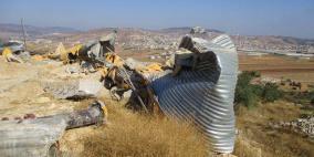 الاحتلال يهدم خزان مياه في طوباس