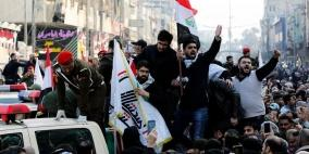 آلاف العراقيين يشيعون سليماني والمهندس