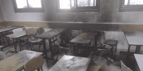 مستوطنون يحرقون صفا مدرسيا