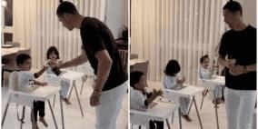 رونالدو يتخذ الإجراءات الوقائية مع أطفاله داخل الحجر الصحي