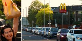 """لندن: آلالاف يصطفون أمام مطعم """"ماكدونلدز"""" بعد إعادة افتتاحه"""