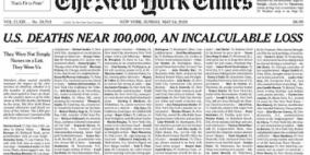 """""""نيويورك تايمز"""" تنشر أسماء ضحايا كورونا تخليدا لذكراهم"""