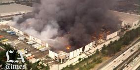 حريق هائل يدمر مستودع أمازون في كاليفورنيا