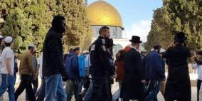 نحو 160 مستوطنا يقتحمون الأقصى بحراسة شرطة الاحتلال