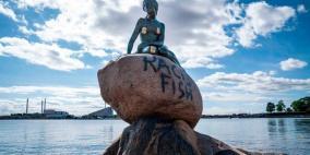 تخريب وتشويه متعمد لتمثال ليتل ميرميد التاريخي