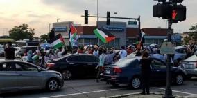 الجالية الفلسطينية في ولاية تكساس الأمريكية تنظم مسيرة ضد الضم