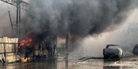 حريق هائل في مصنع بعكا وإغلاق شارع رئيسي