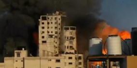 شاهد.. طائرات الاحتلال تدمر برج الشروق وسط مدينة غزة