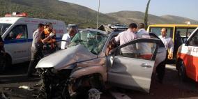 محدث- مصرع زوجين في حادث تصادم على طريق رام الله نابلس