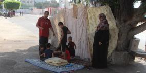 يحدث في غزة:عائلة تفترش الأرض وتلتحف السماء..