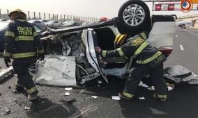 """5 إصابات بانقلاب سيارة على""""شارع 6"""""""