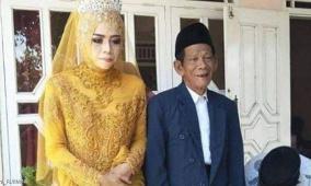 أحبته من أول نظرة...فارق 56 عاماً بين العريس وعروسه