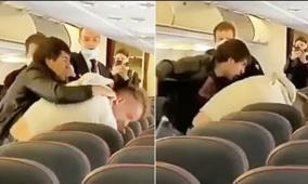 فيديو..عراكا وتضاربا على طائرة والسبب كورونا!