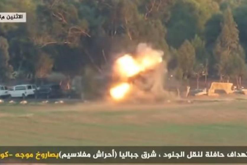 لقطة من فيديو استهداف حافلة اسرائيلية على حدود غزة